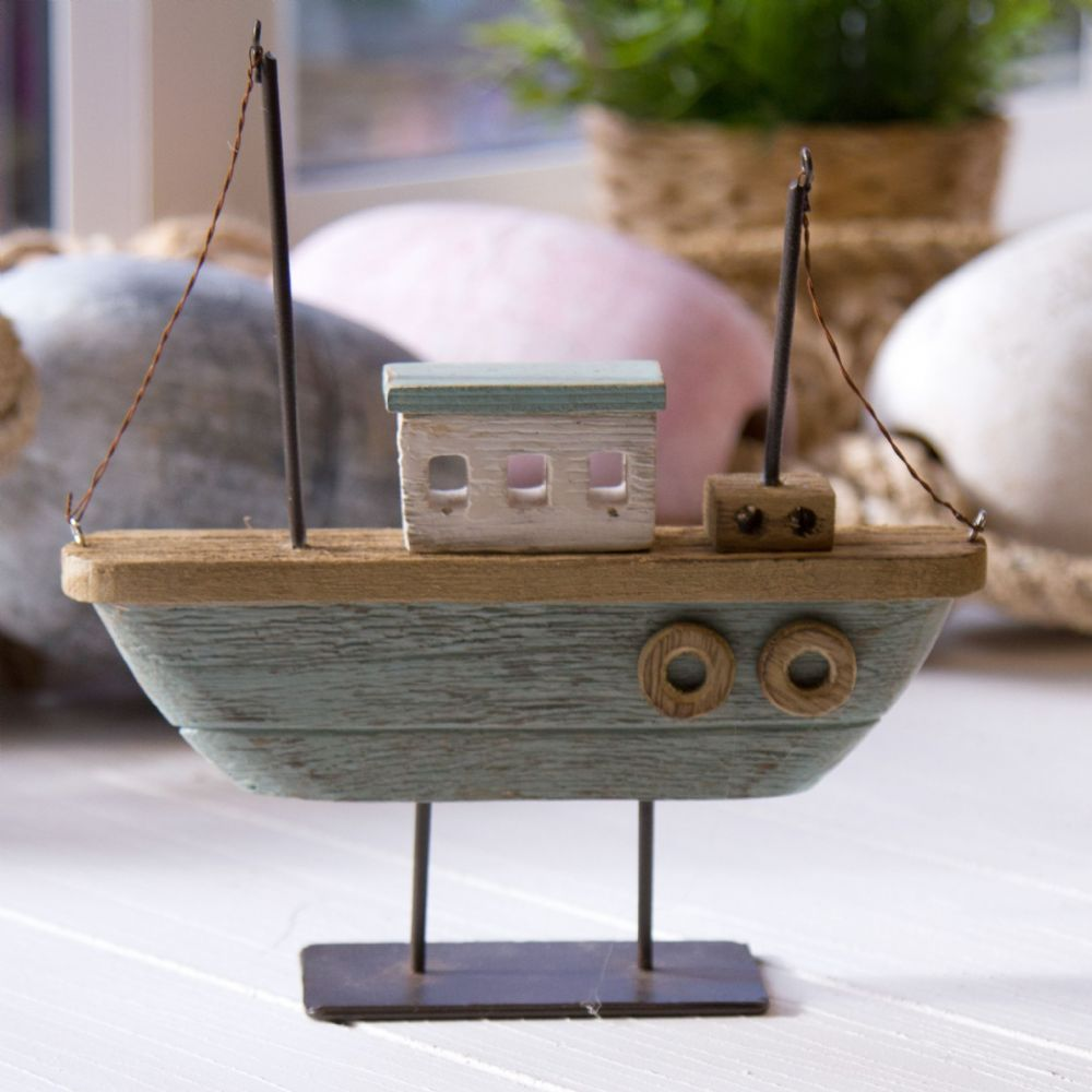 Green Twin Mast Rustic Wooden Boat Nautical Decoration